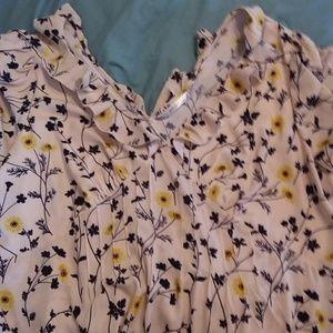Cream floral blouse